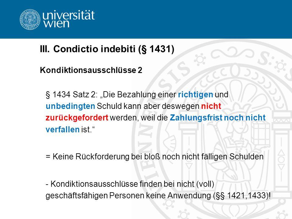 III. Condictio indebiti (§ 1431)