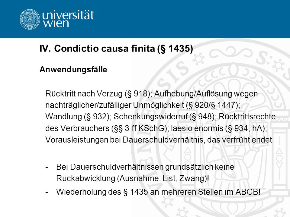 IV. Condictio causa finita (§ 1435)
