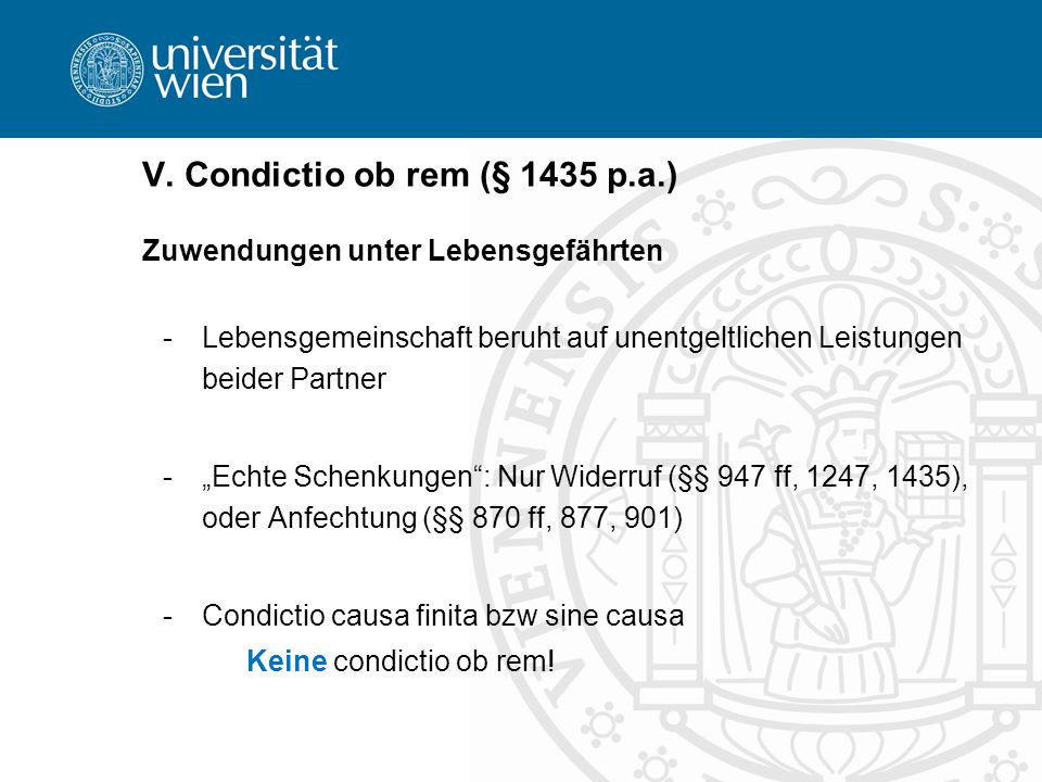 V. Condictio ob rem (§ 1435 p.a.)