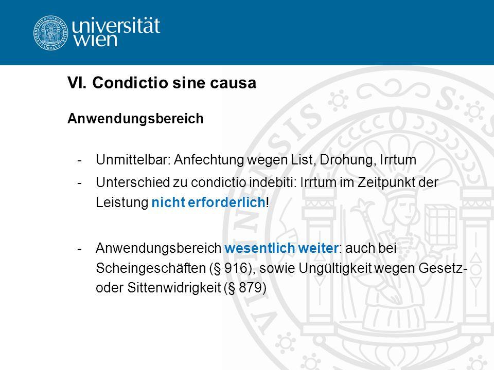 VI. Condictio sine causa