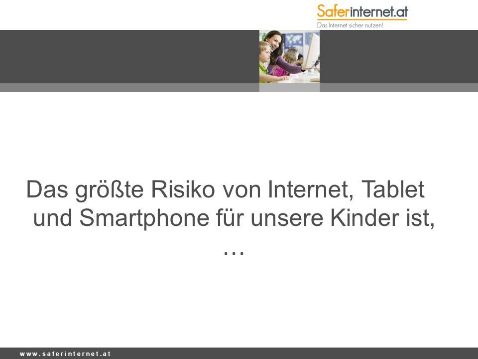 Das größte Risiko von Internet, Tablet und Smartphone für unsere Kinder ist, …