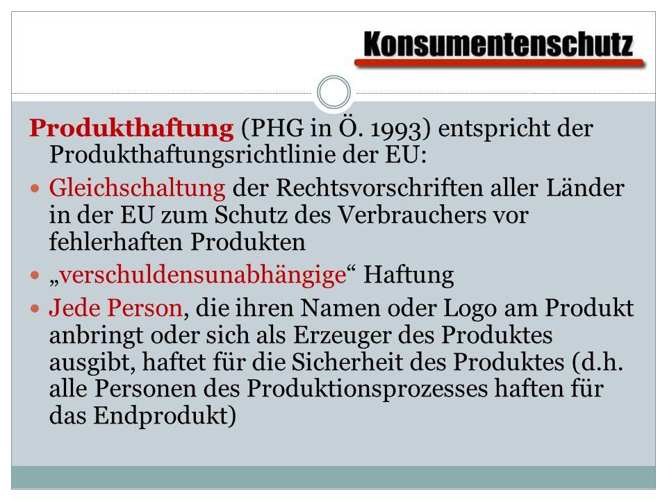 Produkthaftung (PHG in Ö