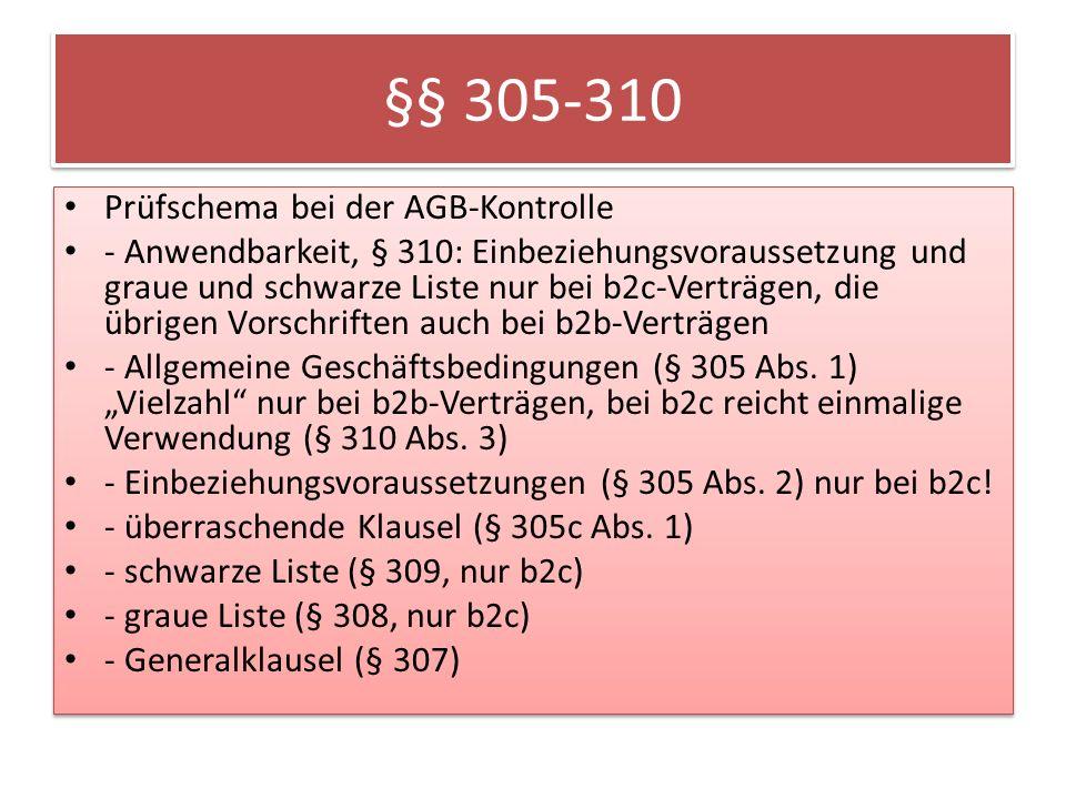 §§ 305-310 Prüfschema bei der AGB-Kontrolle
