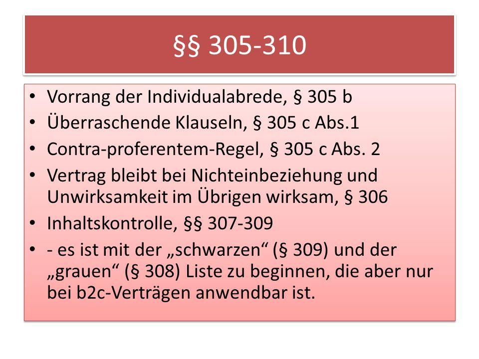 §§ 305-310 Vorrang der Individualabrede, § 305 b