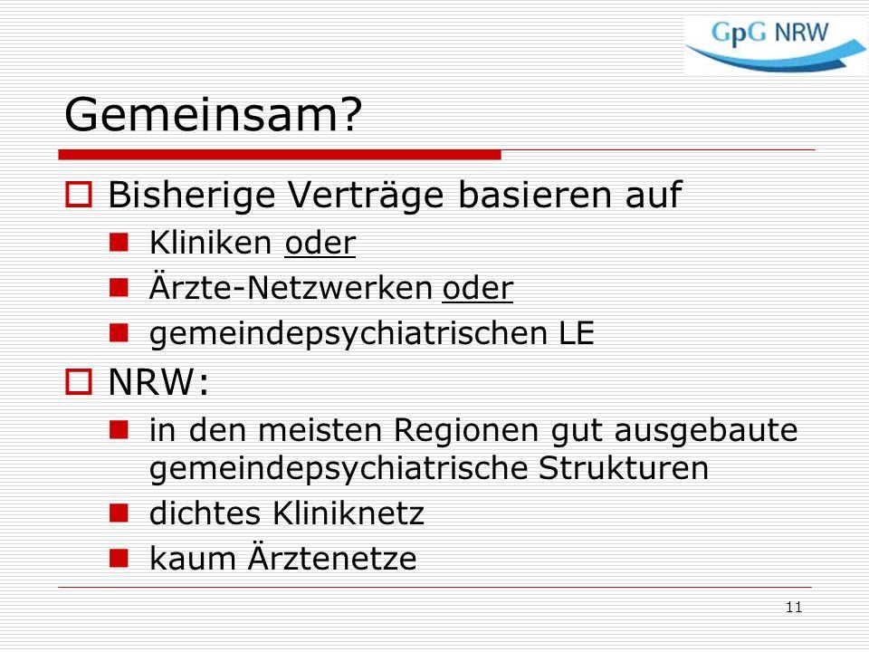 Gemeinsam Bisherige Verträge basieren auf NRW: Kliniken oder