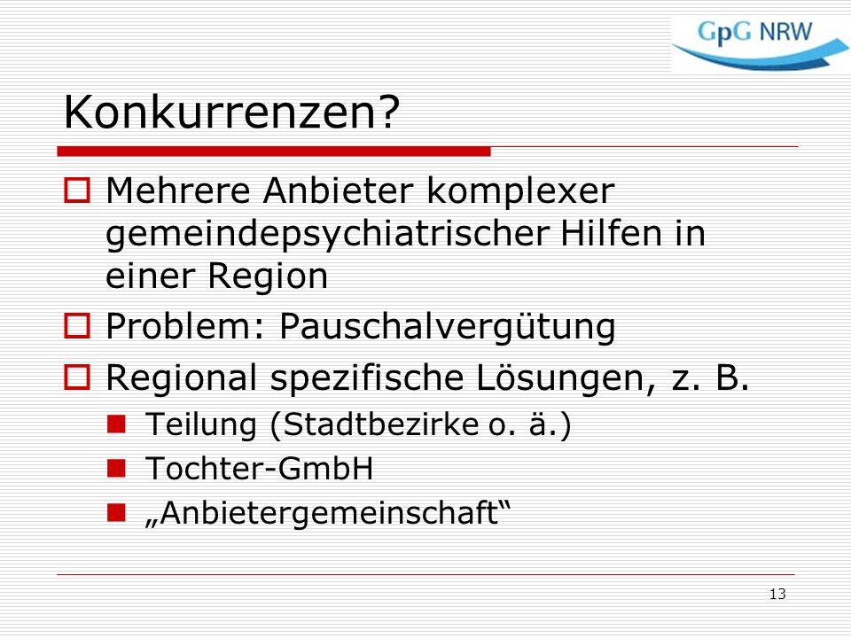Konkurrenzen Mehrere Anbieter komplexer gemeindepsychiatrischer Hilfen in einer Region. Problem: Pauschalvergütung.