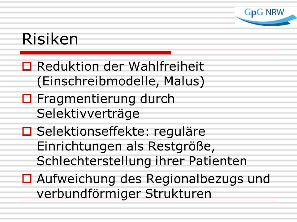 Risiken Reduktion der Wahlfreiheit (Einschreibmodelle, Malus)