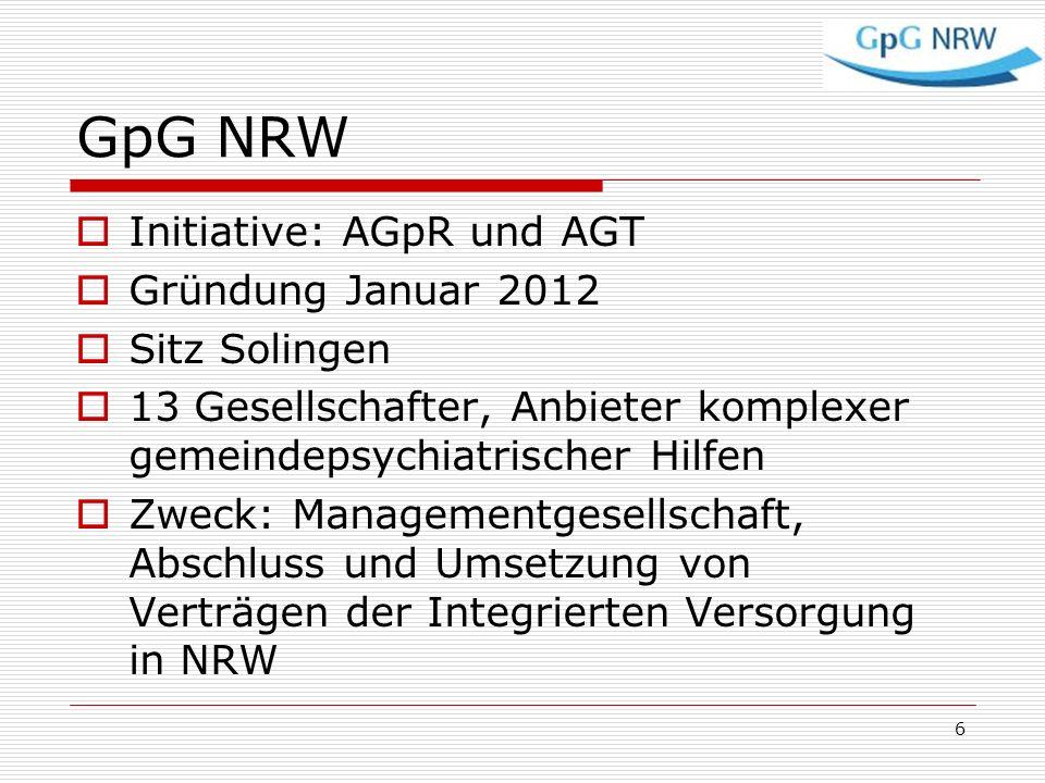 GpG NRW Initiative: AGpR und AGT Gründung Januar 2012 Sitz Solingen