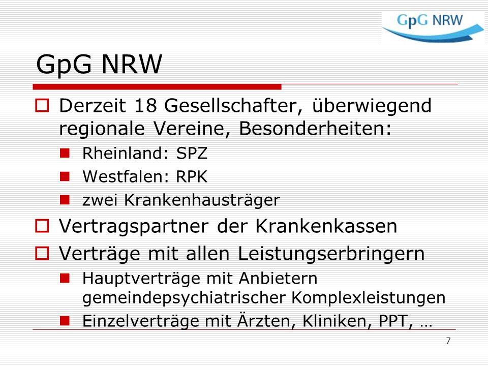 GpG NRW Derzeit 18 Gesellschafter, überwiegend regionale Vereine, Besonderheiten: Rheinland: SPZ. Westfalen: RPK.