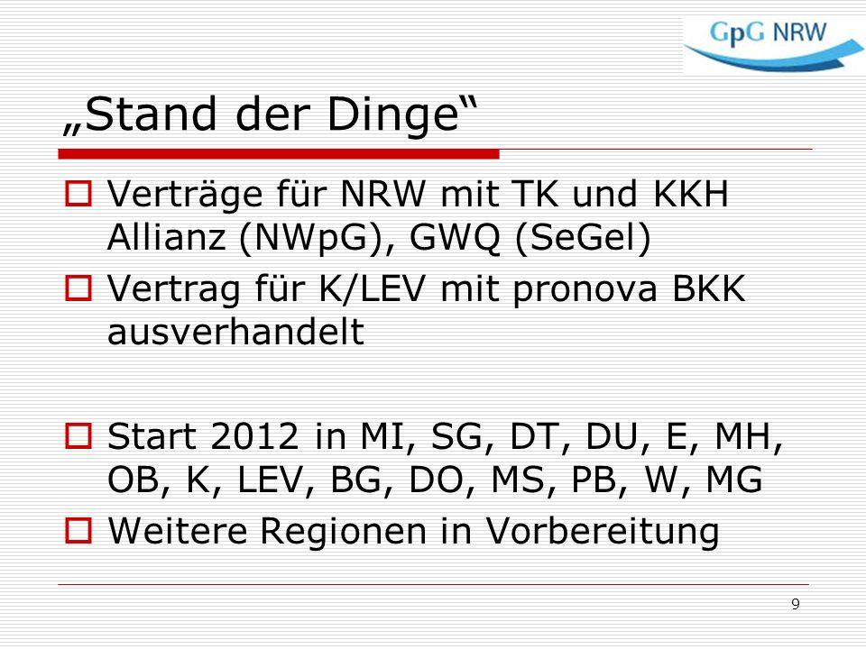 """""""Stand der Dinge Verträge für NRW mit TK und KKH Allianz (NWpG), GWQ (SeGel) Vertrag für K/LEV mit pronova BKK ausverhandelt."""