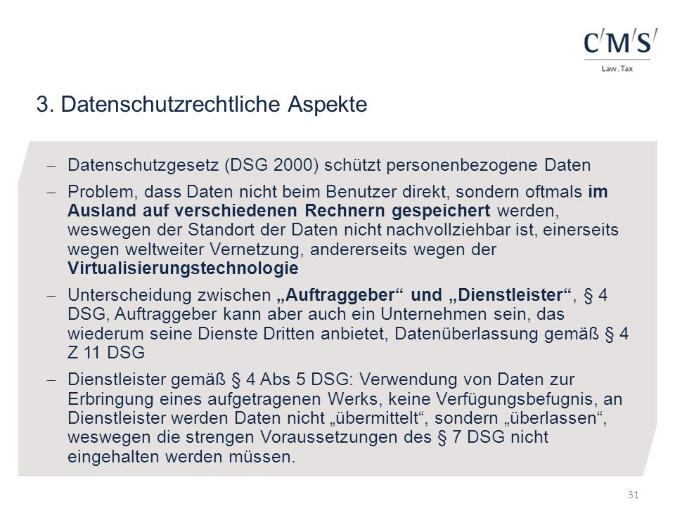 3. Datenschutzrechtliche Aspekte