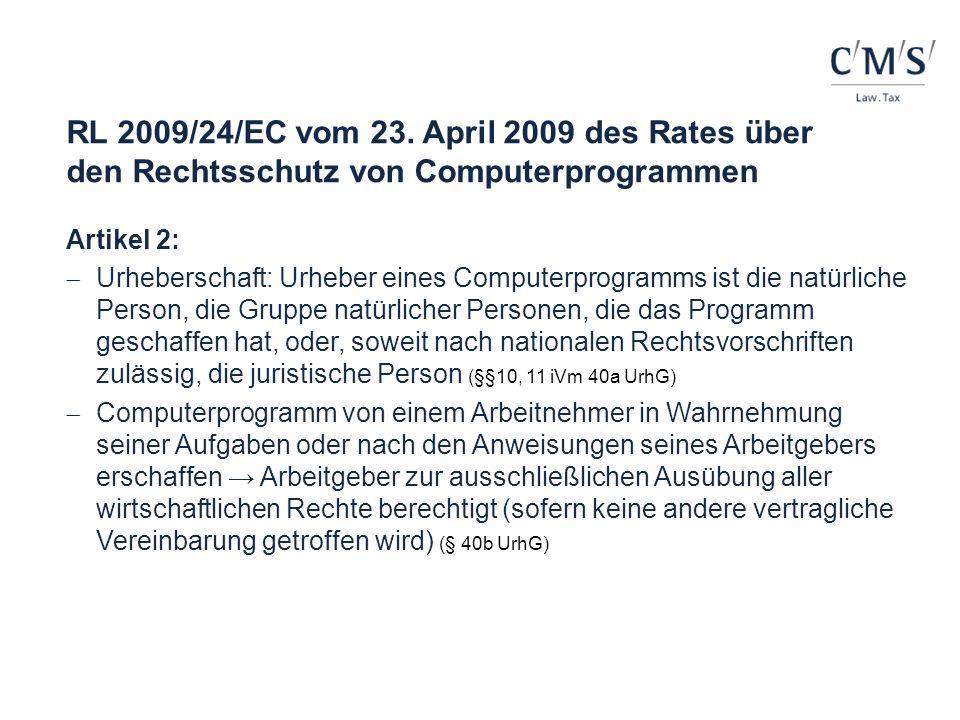 RL 2009/24/EC vom 23. April 2009 des Rates über den Rechtsschutz von Computerprogrammen