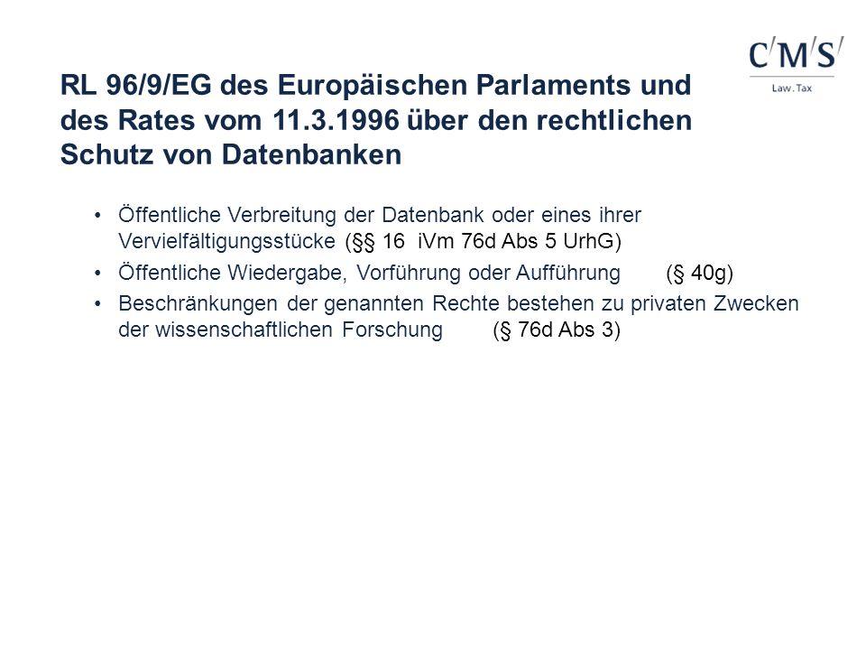 RL 96/9/EG des Europäischen Parlaments und des Rates vom 11. 3