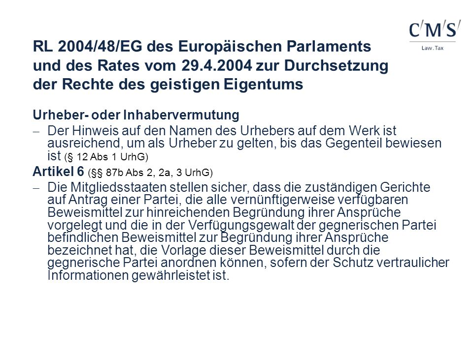 RL 2004/48/EG des Europäischen Parlaments und des Rates vom 29. 4