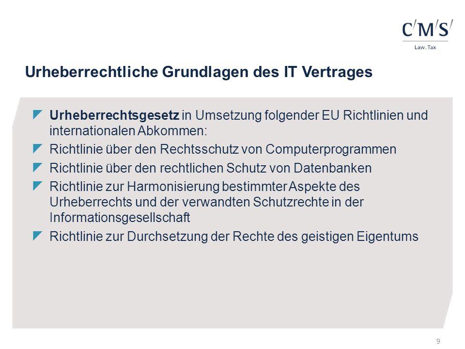 Urheberrechtliche Grundlagen des IT Vertrages