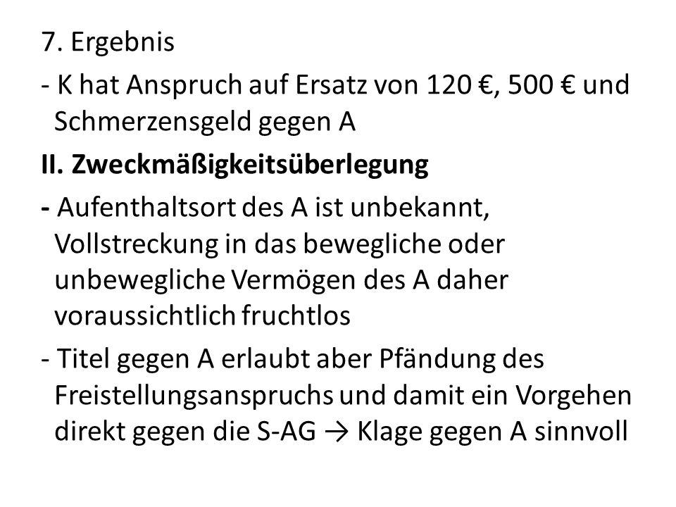 7. Ergebnis - K hat Anspruch auf Ersatz von 120 €, 500 € und Schmerzensgeld gegen A II.