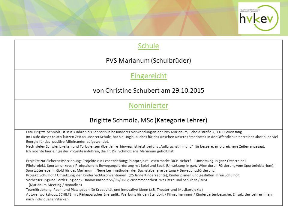 Schule Eingereicht Nominierter PVS Marianum (Schulbrüder)