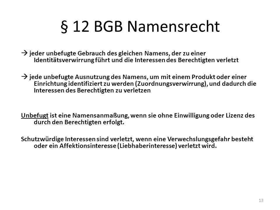 § 12 BGB Namensrecht