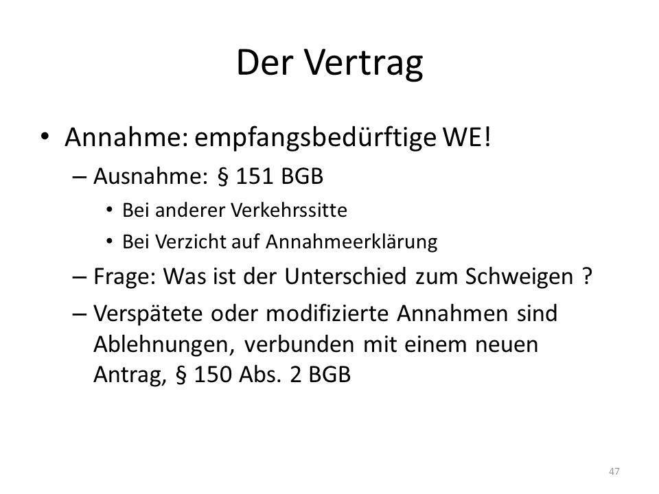 Der Vertrag Annahme: empfangsbedürftige WE! Ausnahme: § 151 BGB