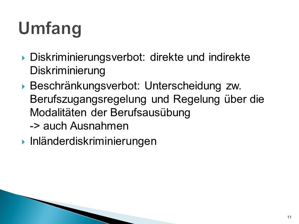 Umfang Diskriminierungsverbot: direkte und indirekte Diskriminierung