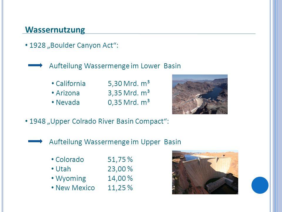 "Wassernutzung 1928 ""Boulder Canyon Act :"