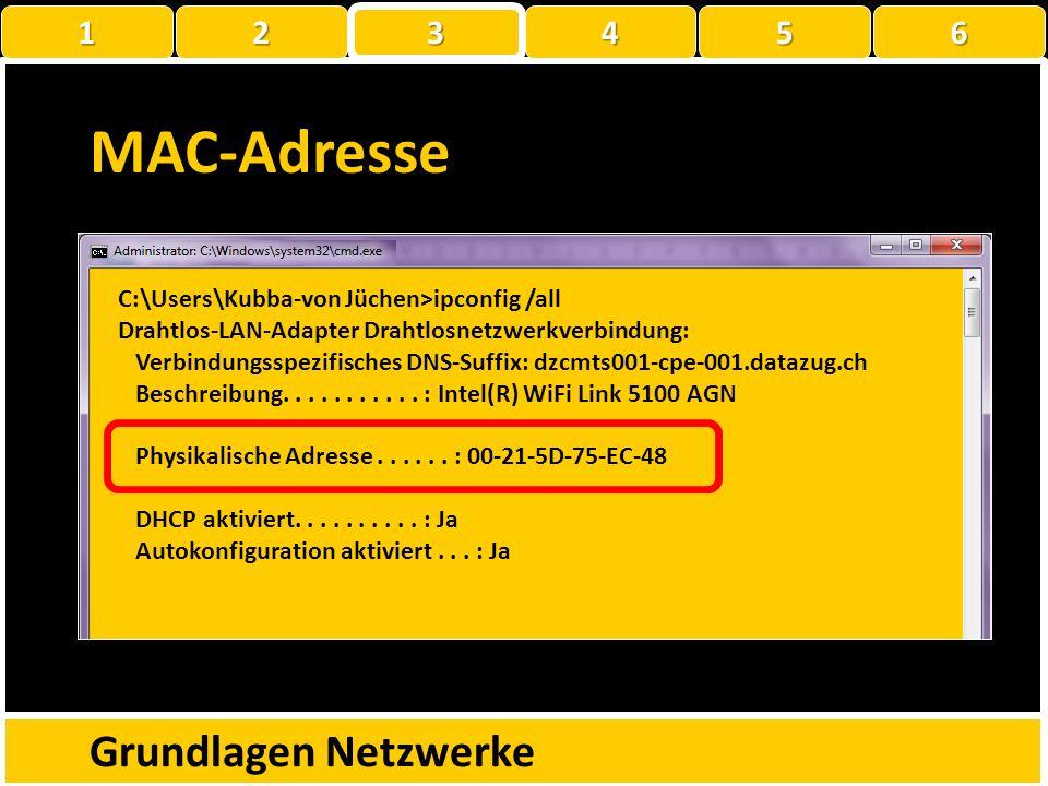 MAC-Adresse Grundlagen Netzwerke 1 2 3 4 5 6