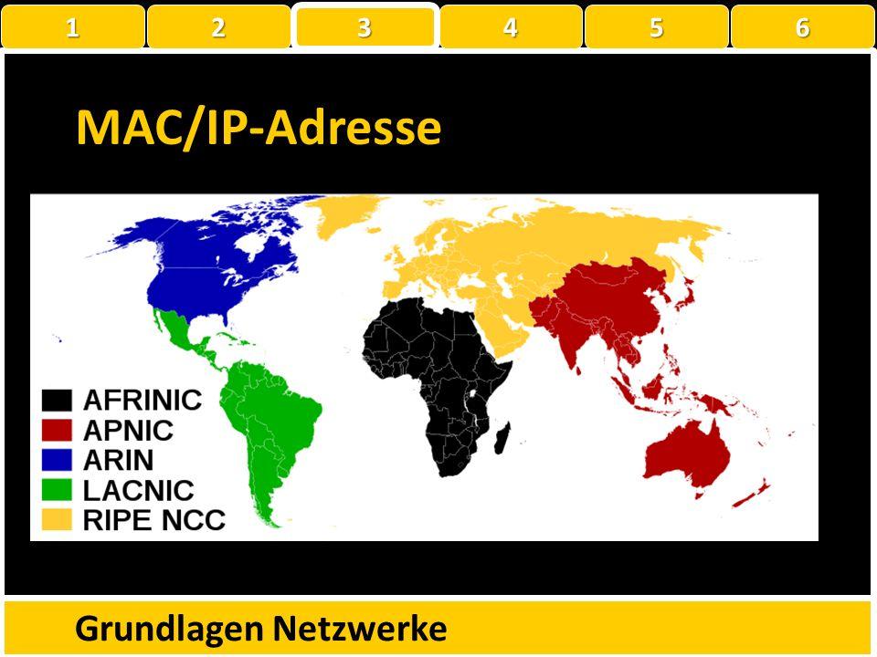 MAC/IP-Adresse Grundlagen Netzwerke 1 2 3 4 5 6