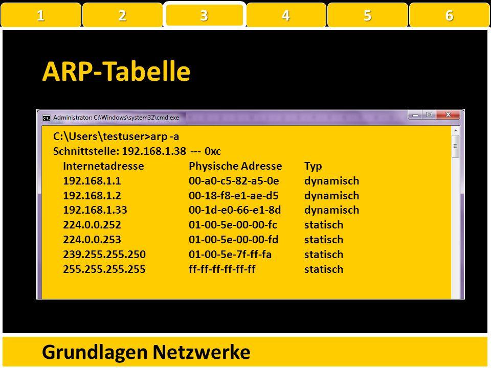 ARP-Tabelle Grundlagen Netzwerke 1 2 3 4 5 6
