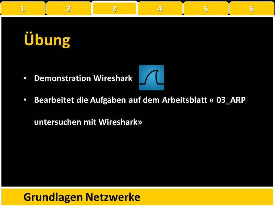 Übung Grundlagen Netzwerke 1 2 3 4 5 6 Demonstration Wireshark