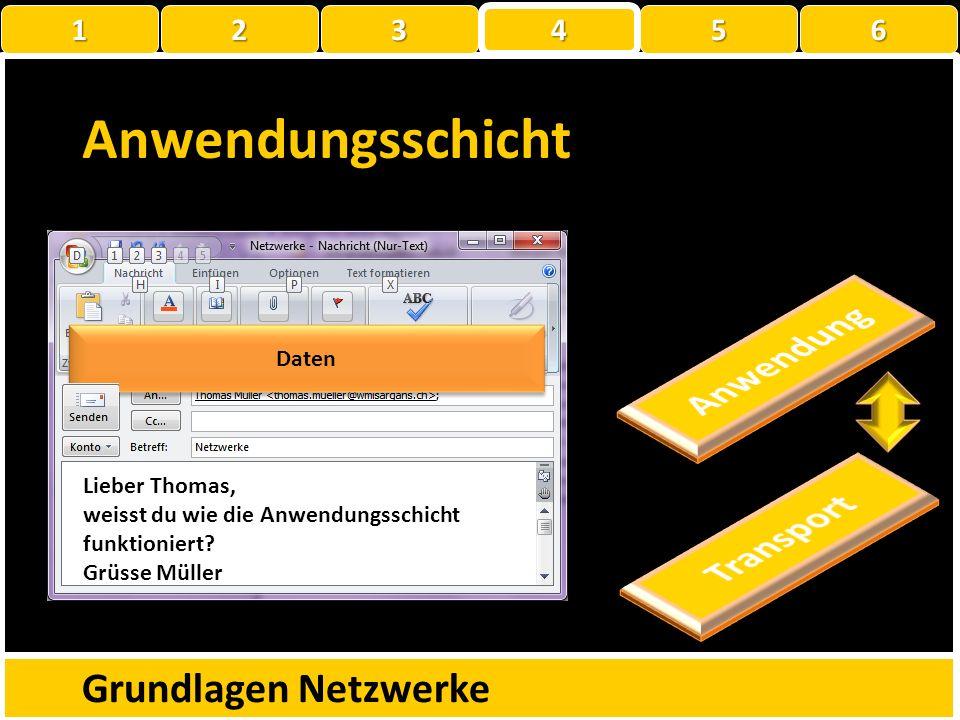Anwendungsschicht Anwendung Transport Grundlagen Netzwerke 1 2 3 4 5 6