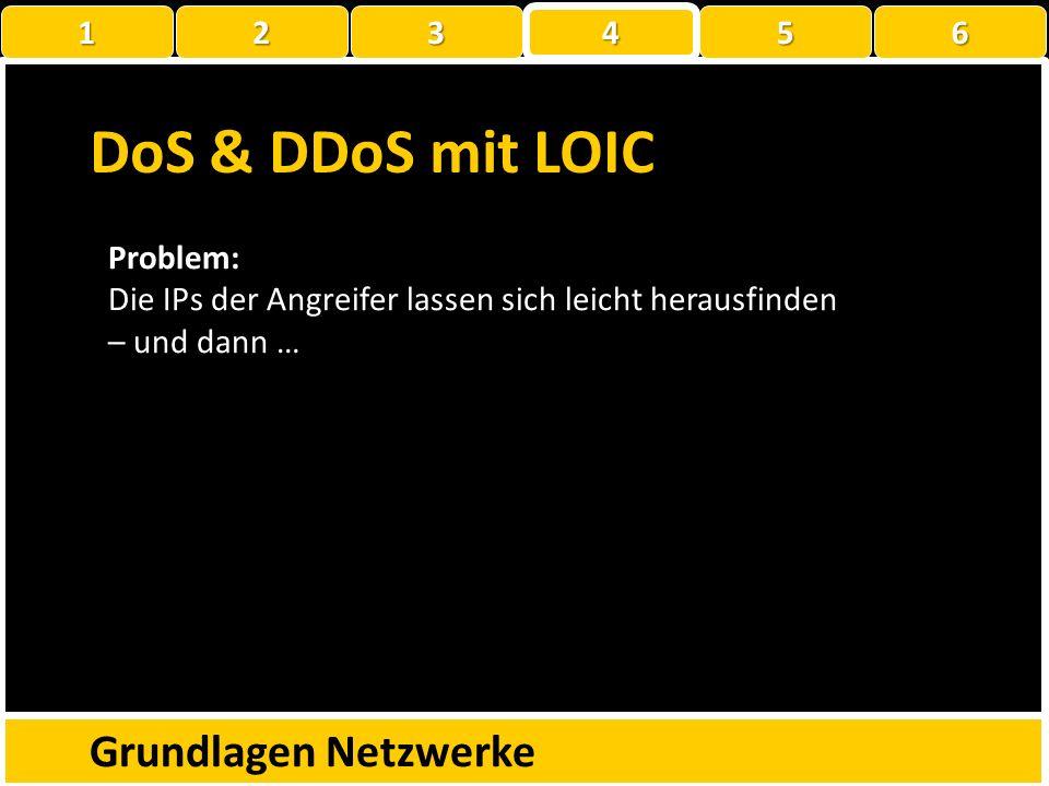 DoS & DDoS mit LOIC Grundlagen Netzwerke 1 2 3 4 5 6 Problem: