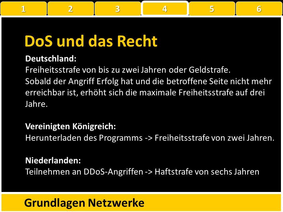 DoS und das Recht Grundlagen Netzwerke 1 2 3 4 5 6 Deutschland: