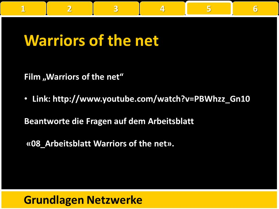 Warriors of the net Grundlagen Netzwerke 1 2 3 4 5 6