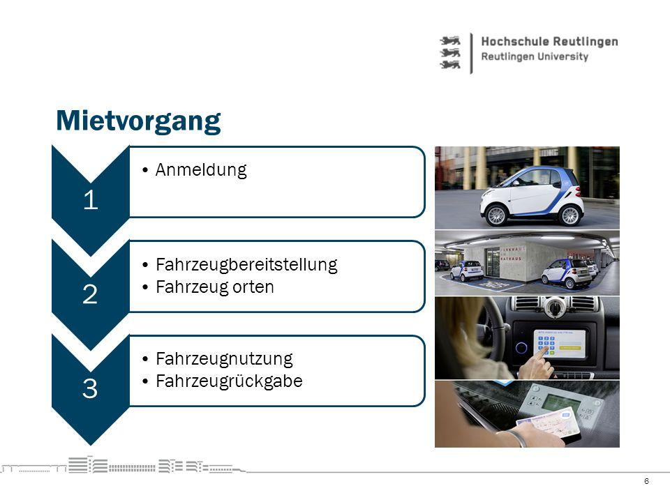 Mietvorgang 1 Anmeldung 2 Fahrzeugbereitstellung Fahrzeug orten 3
