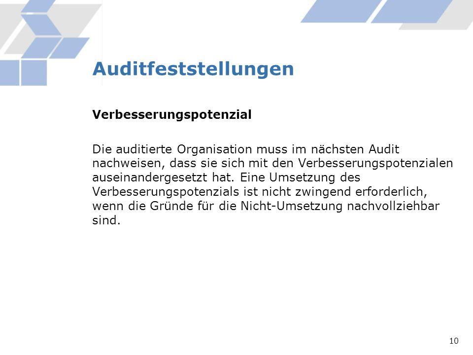 Auditfeststellungen Verbesserungspotenzial