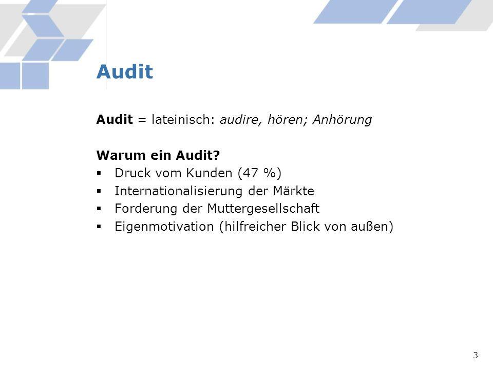 Audit Audit = lateinisch: audire, hören; Anhörung Warum ein Audit