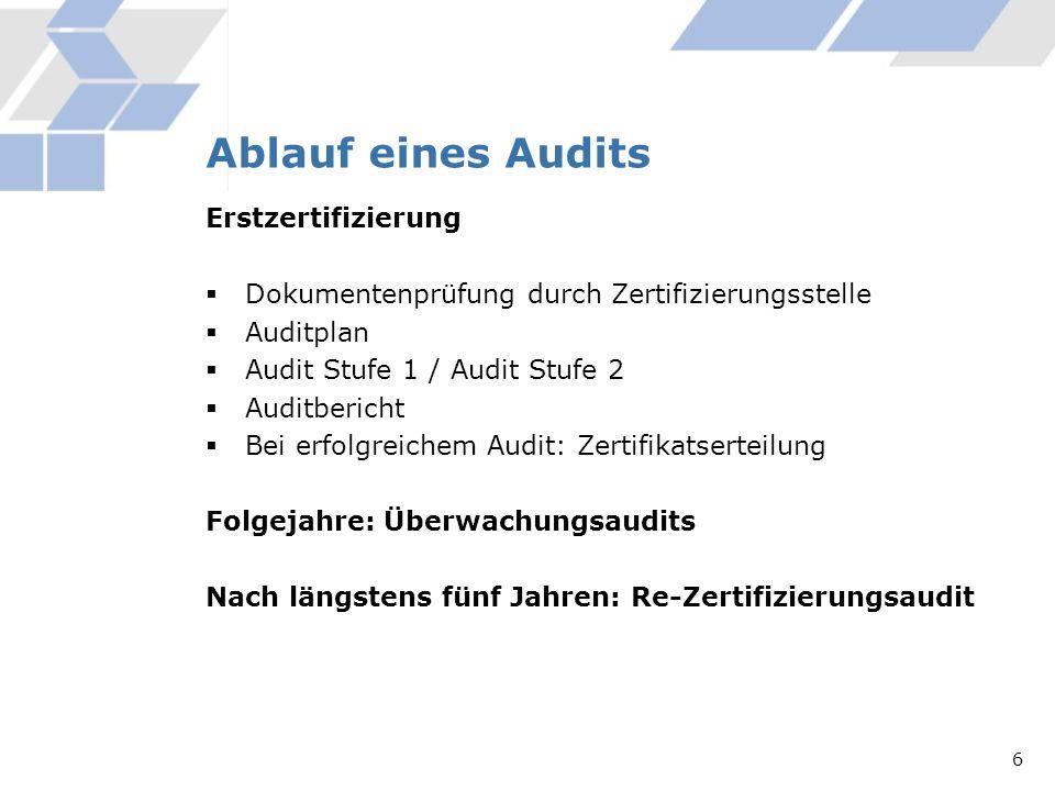 Ablauf eines Audits Erstzertifizierung