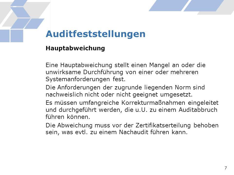 Auditfeststellungen Hauptabweichung