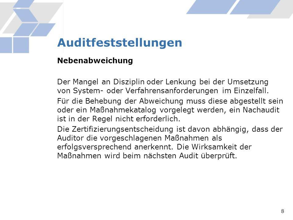 Auditfeststellungen Nebenabweichung
