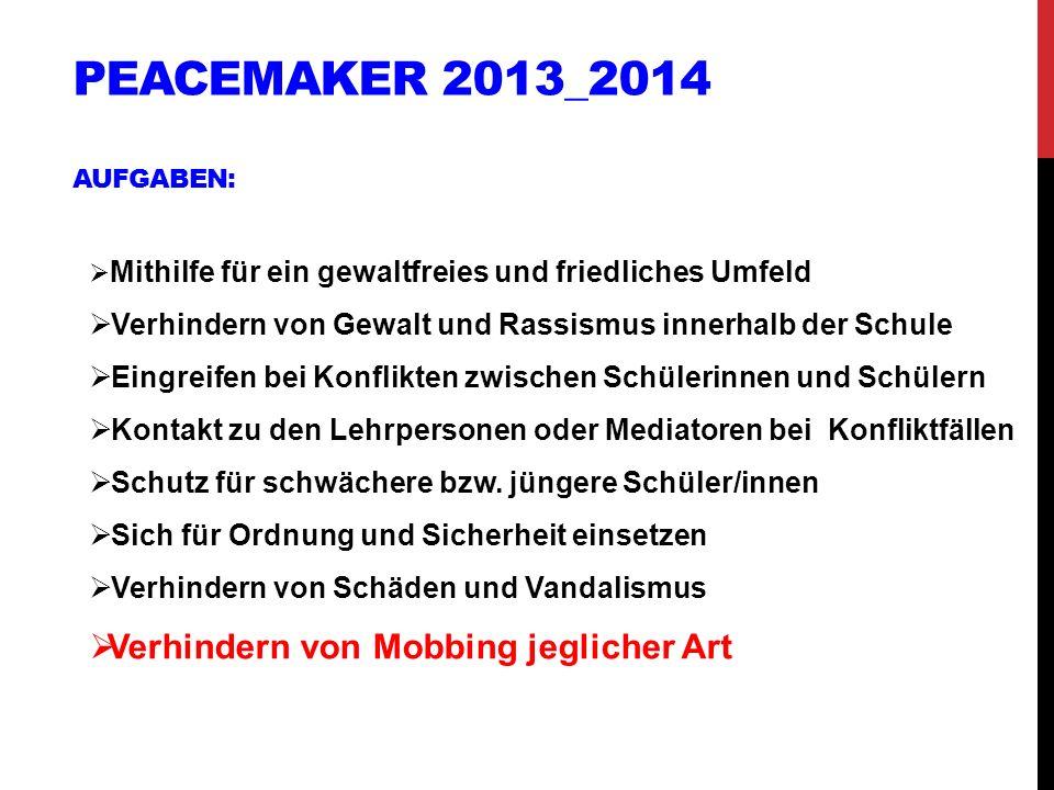 Peacemaker 2013_2014 Aufgaben: