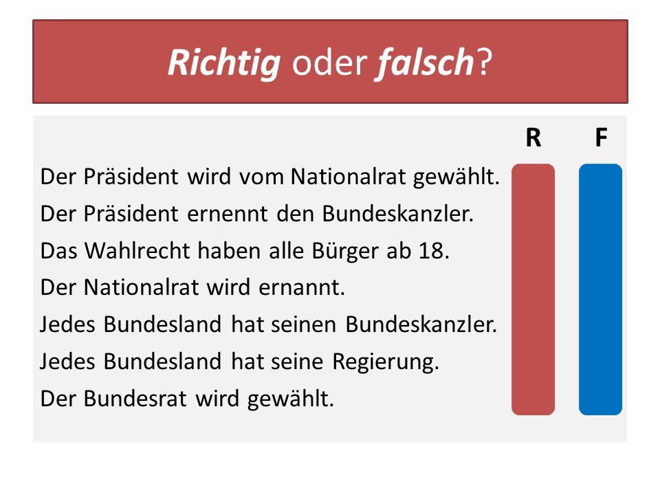 Richtig oder falsch R F Der Präsident wird vom Nationalrat gewählt. x