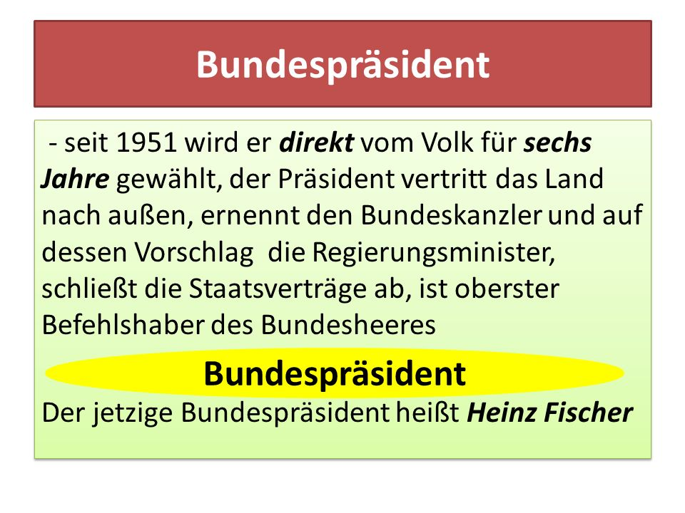 Bundespräsident Bundespräsident