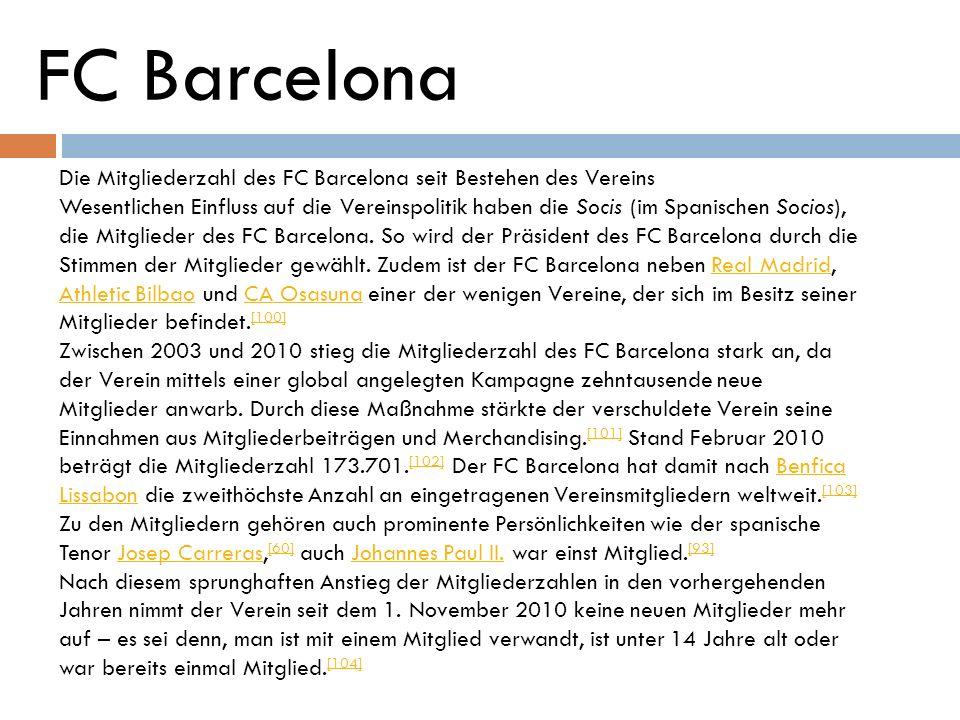 FC Barcelona Die Mitgliederzahl des FC Barcelona seit Bestehen des Vereins.