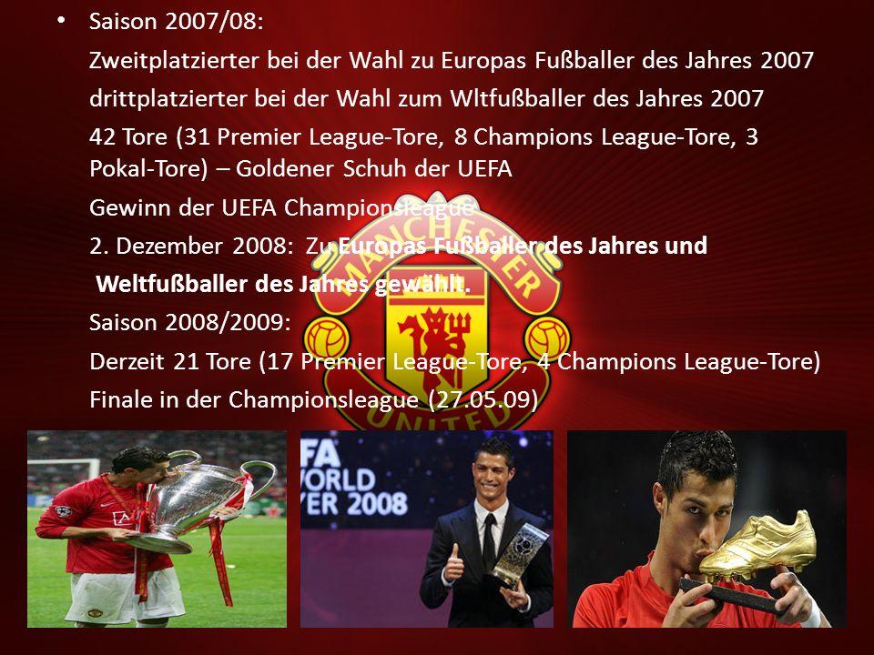 Saison 2007/08: Zweitplatzierter bei der Wahl zu Europas Fußballer des Jahres 2007. drittplatzierter bei der Wahl zum Wltfußballer des Jahres 2007.