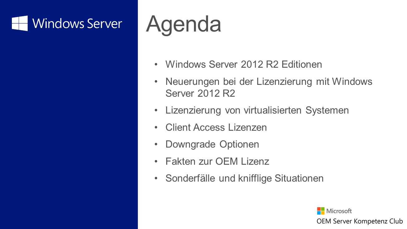 Agenda Windows Server 2012 R2 Editionen