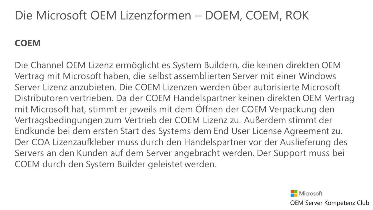 Die Microsoft OEM Lizenzformen – DOEM, COEM, ROK