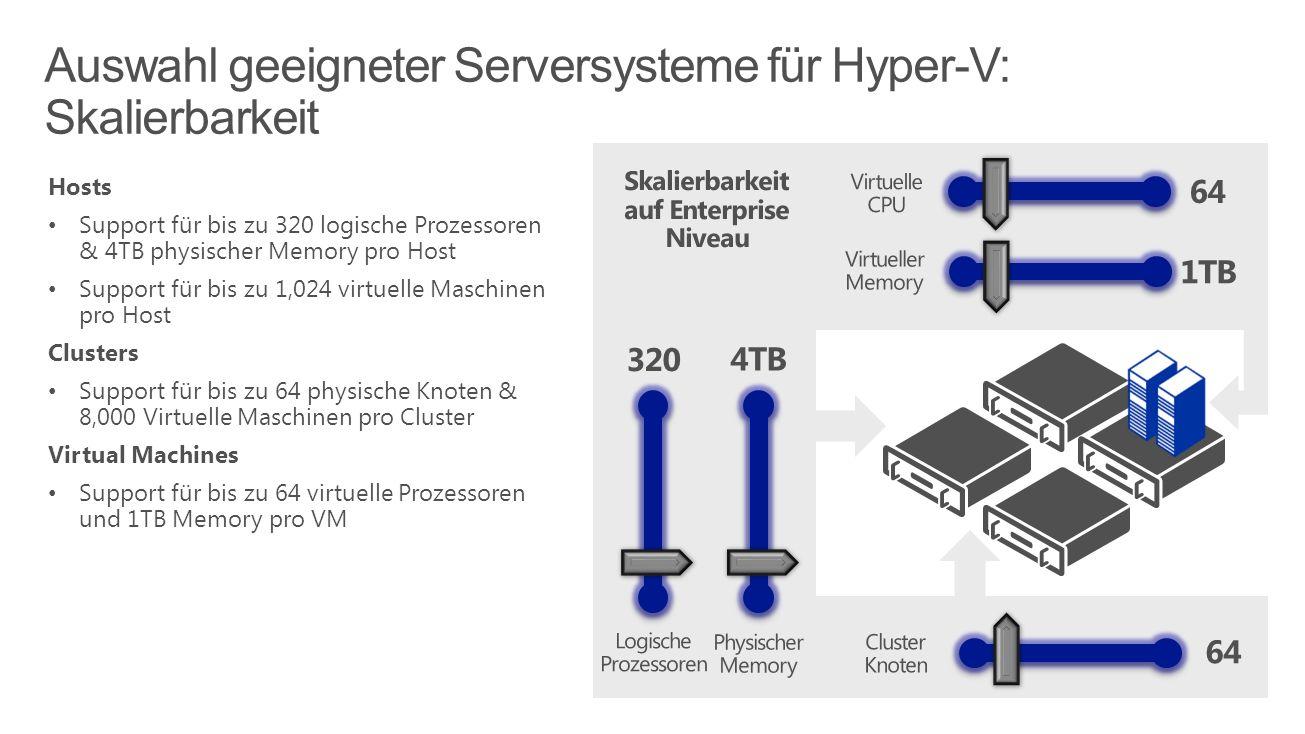 Auswahl geeigneter Serversysteme für Hyper-V: Skalierbarkeit