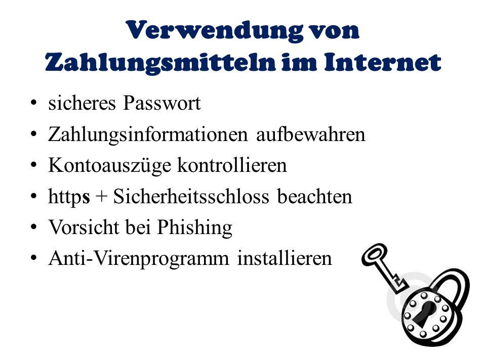 Verwendung von Zahlungsmitteln im Internet