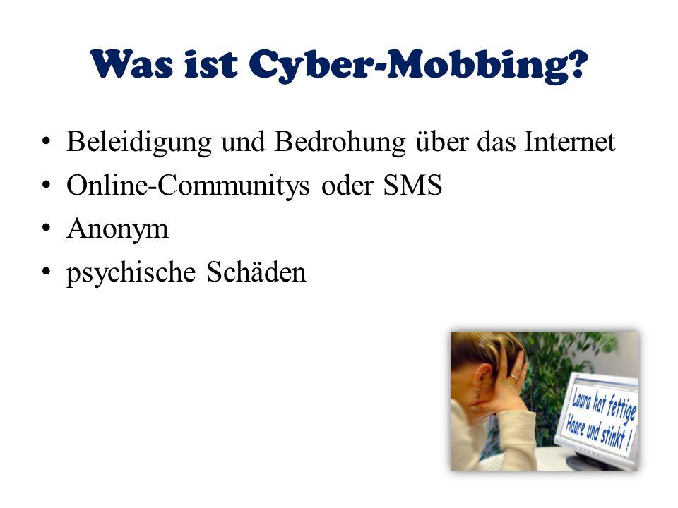 Was ist Cyber-Mobbing Beleidigung und Bedrohung über das Internet