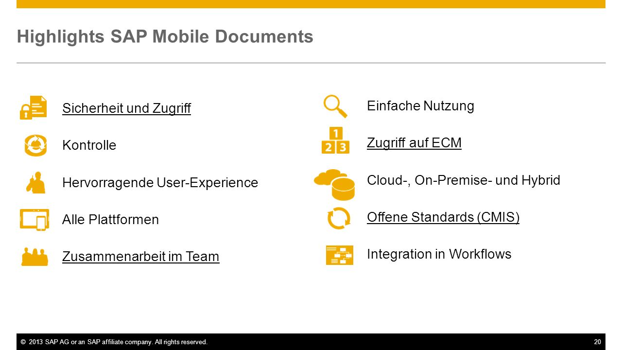 Highlights SAP Mobile Documents